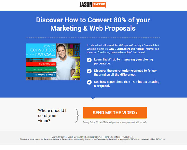 email landing page example